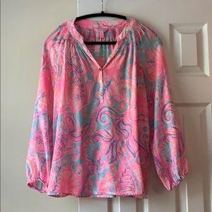 Lily Pulitzer Elsa silk blouse, size M